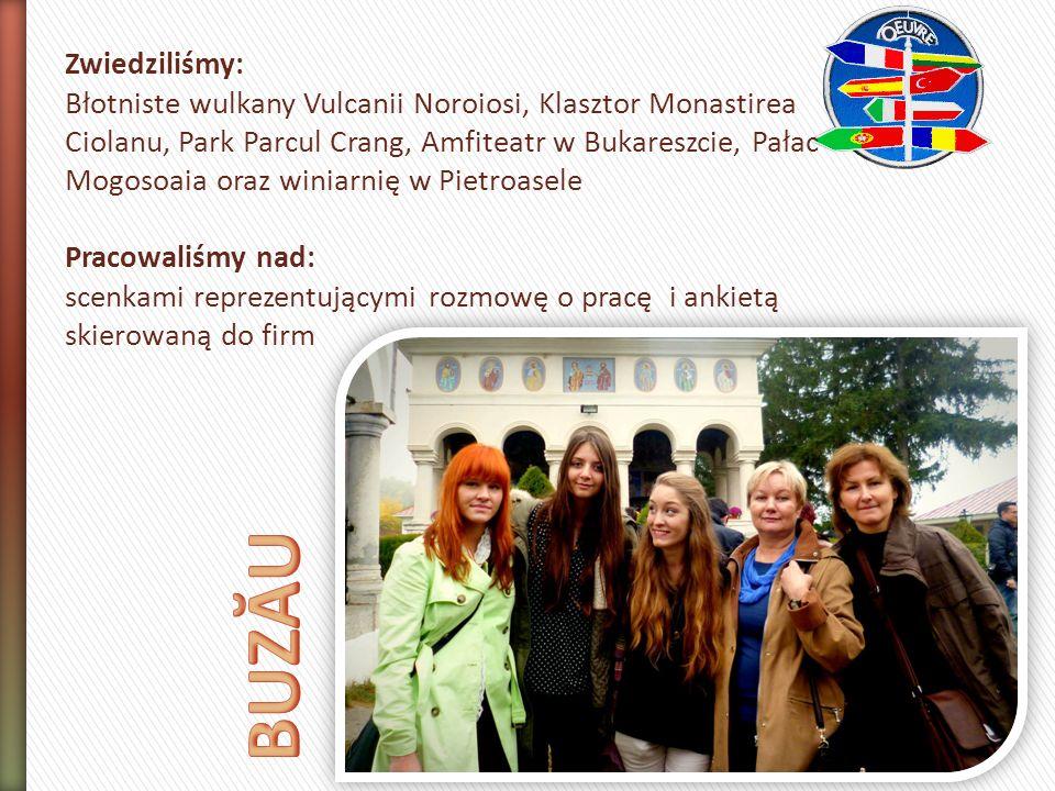 Zwiedziliśmy: Błotniste wulkany Vulcanii Noroiosi, Klasztor Monastirea Ciolanu, Park Parcul Crang, Amfiteatr w Bukareszcie, Pałac Mogosoaia oraz winiarnię w Pietroasele Pracowaliśmy nad: scenkami reprezentującymi rozmowę o pracę i ankietą skierowaną do firm