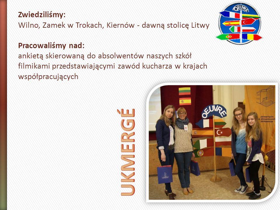 Zwiedziliśmy: Wilno, Zamek w Trokach, Kiernów - dawną stolicę Litwy Pracowaliśmy nad: ankietą skierowaną do absolwentów naszych szkół filmikami przedstawiającymi zawód kucharza w krajach współpracujących