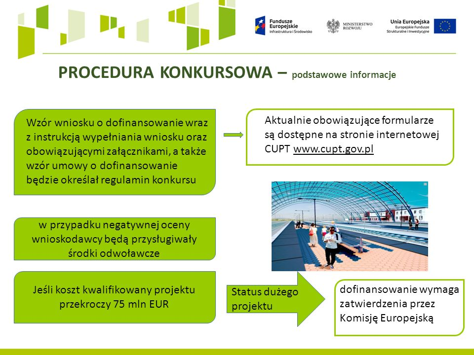 Wzór wniosku o dofinansowanie wraz z instrukcją wypełniania wniosku oraz obowiązującymi załącznikami, a także wzór umowy o dofinansowanie będzie określał regulamin konkursu Aktualnie obowiązujące formularze są dostępne na stronie internetowej CUPT www.cupt.gov.pl PROCEDURA KONKURSOWA – podstawowe informacje w przypadku negatywnej oceny wnioskodawcy będą przysługiwały środki odwoławcze Jeśli koszt kwalifikowany projektu przekroczy 75 mln EUR Status dużego projektu dofinansowanie wymaga zatwierdzenia przez Komisję Europejską