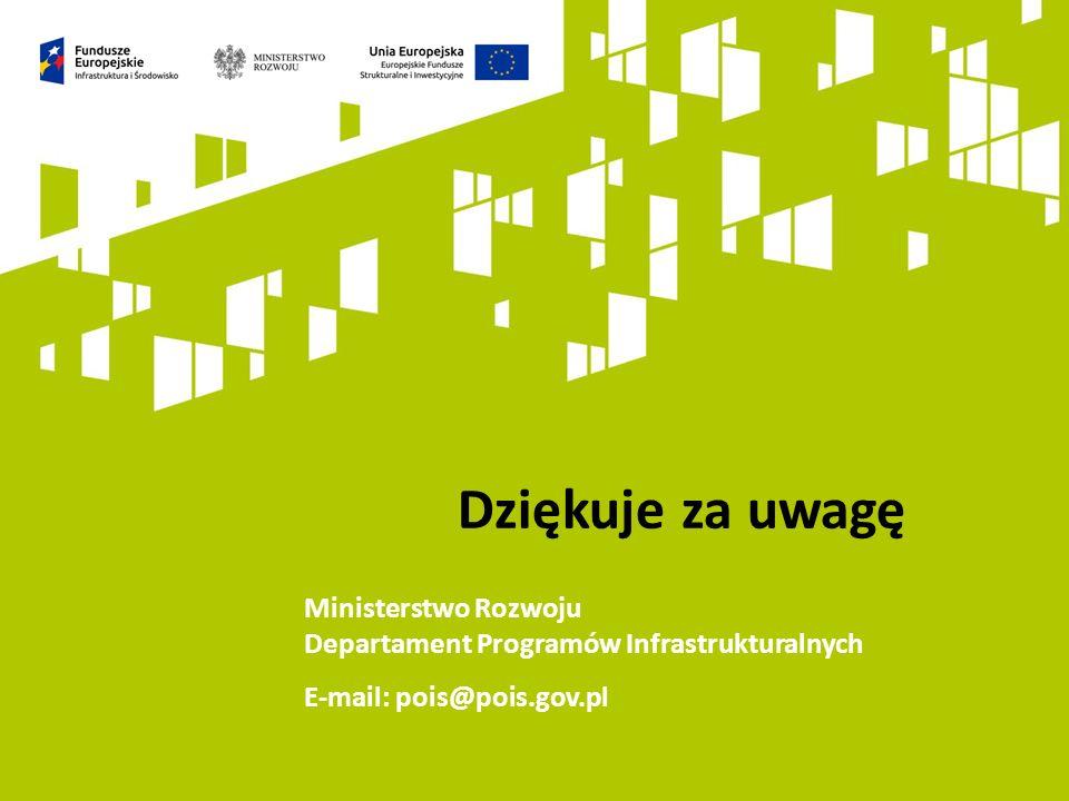 Dziękuje za uwagę Ministerstwo Rozwoju Departament Programów Infrastrukturalnych E-mail: pois@pois.gov.pl