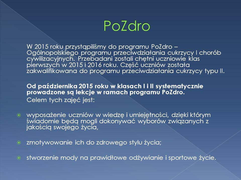 W 2015 roku przystąpiliśmy do programu PoZdro – Ogólnopolskiego programu przeciwdziałania cukrzycy I chorób cywilizacyjnych.