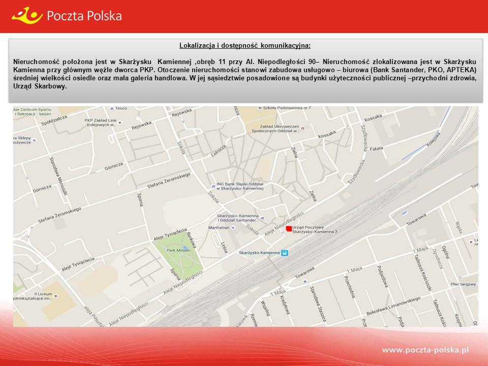 Lokalizacja i dostępność komunikacyjna: Nieruchomość położona jest w Skarżysku Kamiennej,obręb 11 przy Al.