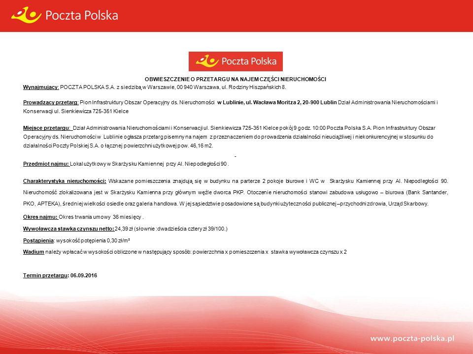 OBWIESZCZENIE O PRZETARGU NA NAJEM CZĘŚCI NIERUCHOMOŚCI Wynajmujący: POCZTA POLSKA S.A.