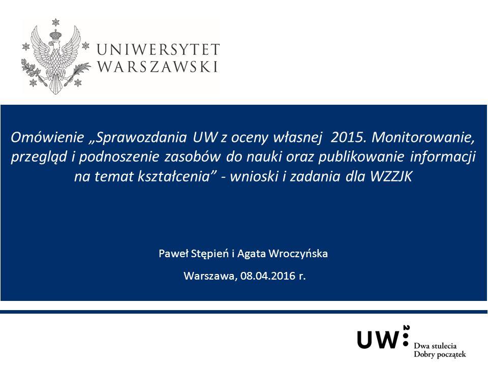 """Omówienie """"Sprawozdania UW z oceny własnej 2015."""
