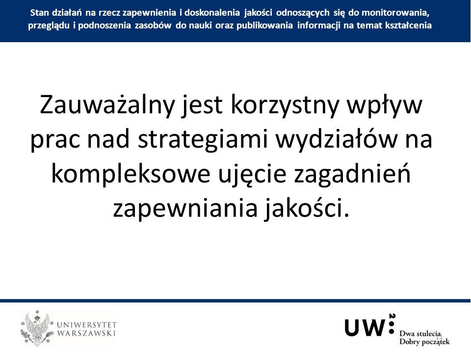 Zauważalny jest korzystny wpływ prac nad strategiami wydziałów na kompleksowe ujęcie zagadnień zapewniania jakości.