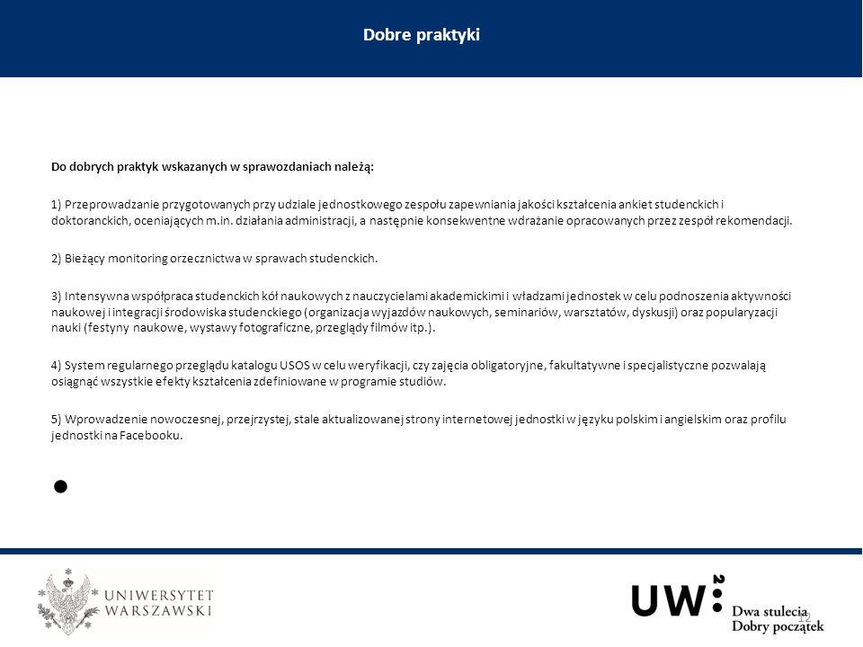 Do dobrych praktyk wskazanych w sprawozdaniach należą: 1) Przeprowadzanie przygotowanych przy udziale jednostkowego zespołu zapewniania jakości kształcenia ankiet studenckich i doktoranckich, oceniających m.in.