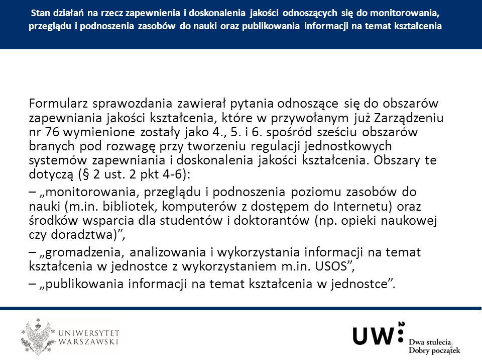 1) Publikacja sprawozdań z oceny własnej 2015 wydziałów i innych jednostek organizacyjnych UW na stronie www Biura ds.