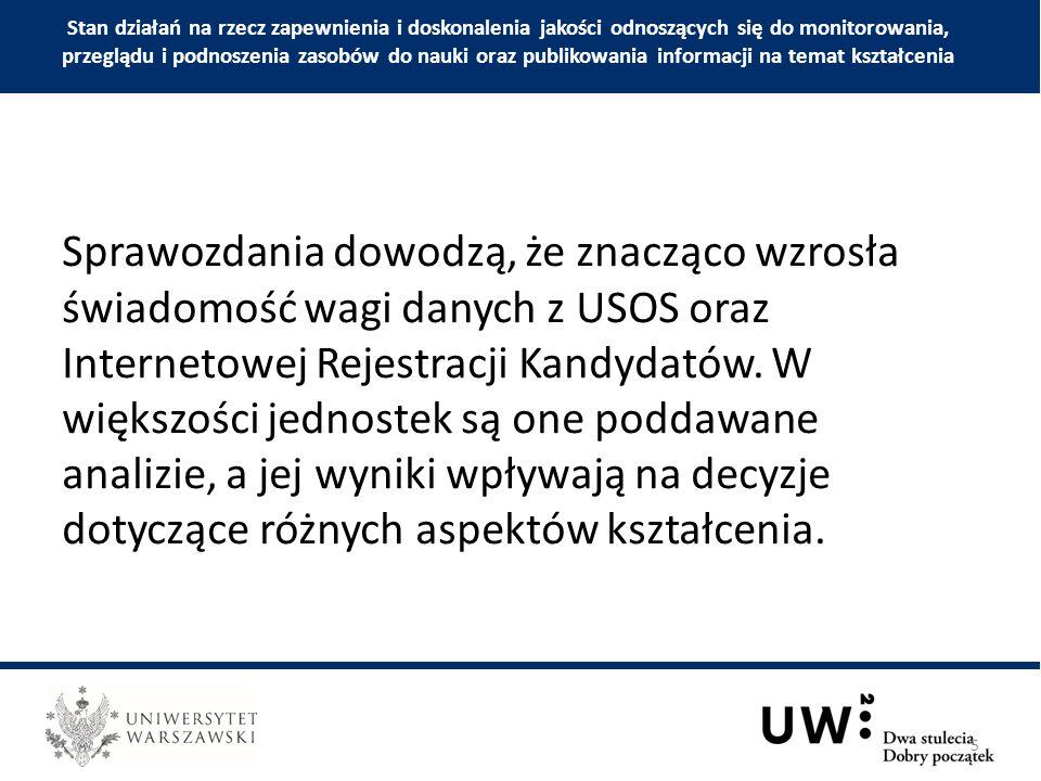 Mimo upływu blisko dziewięciu lat od wprowadzenia systemowych badań ankietowych na Uniwersytecie Warszawskim, w niedostatecznej mierze uwzględnia się wyniki prowadzonych przez Pracownię Ewaluacji Jakości Kształcenia ankiet ogólnouniwersyteckich.