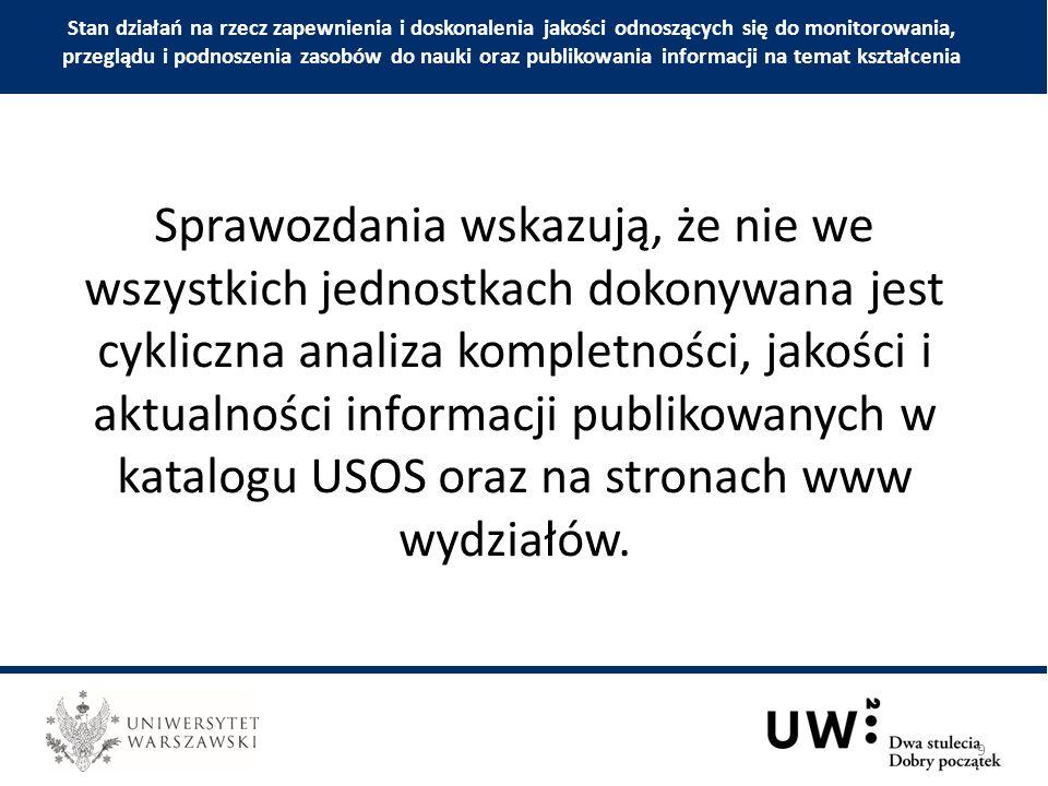 Sprawozdania wskazują, że nie we wszystkich jednostkach dokonywana jest cykliczna analiza kompletności, jakości i aktualności informacji publikowanych w katalogu USOS oraz na stronach www wydziałów.
