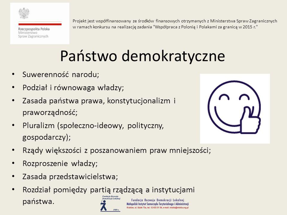 Suwerenność narodu; Podział i równowaga władzy; Zasada państwa prawa, konstytucjonalizm i praworządność; Pluralizm (społeczno-ideowy, polityczny, gosp
