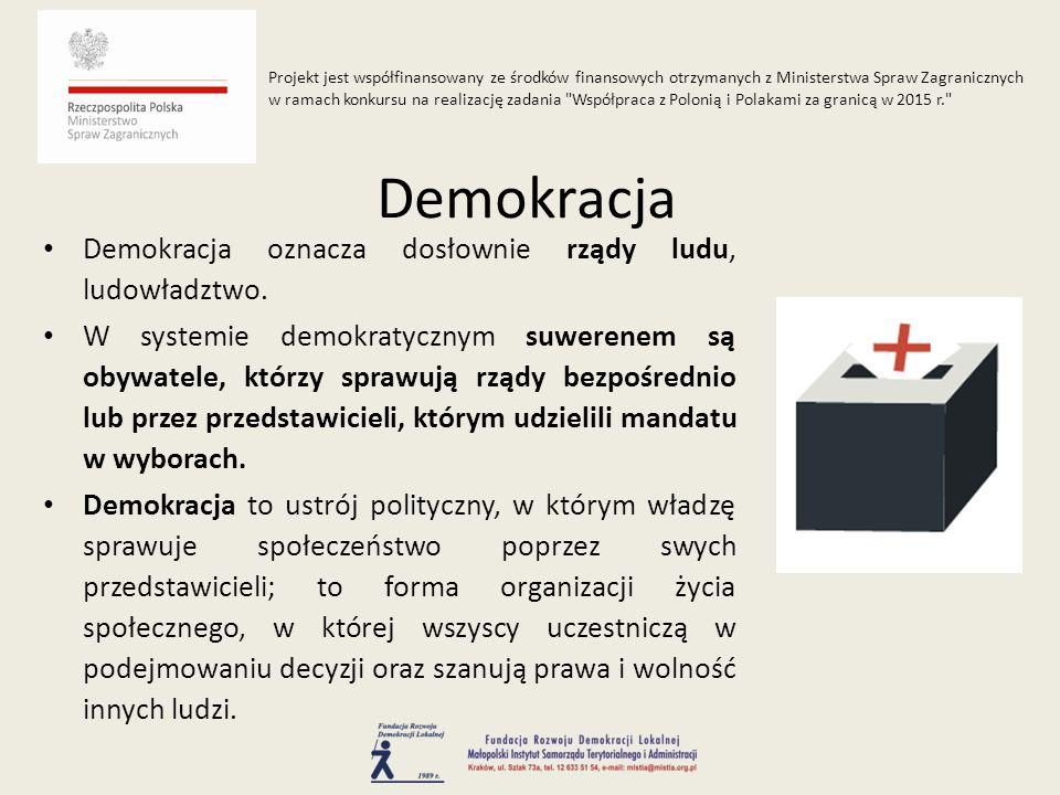 Demokracja oznacza dosłownie rządy ludu, ludowładztwo. W systemie demokratycznym suwerenem są obywatele, którzy sprawują rządy bezpośrednio lub przez