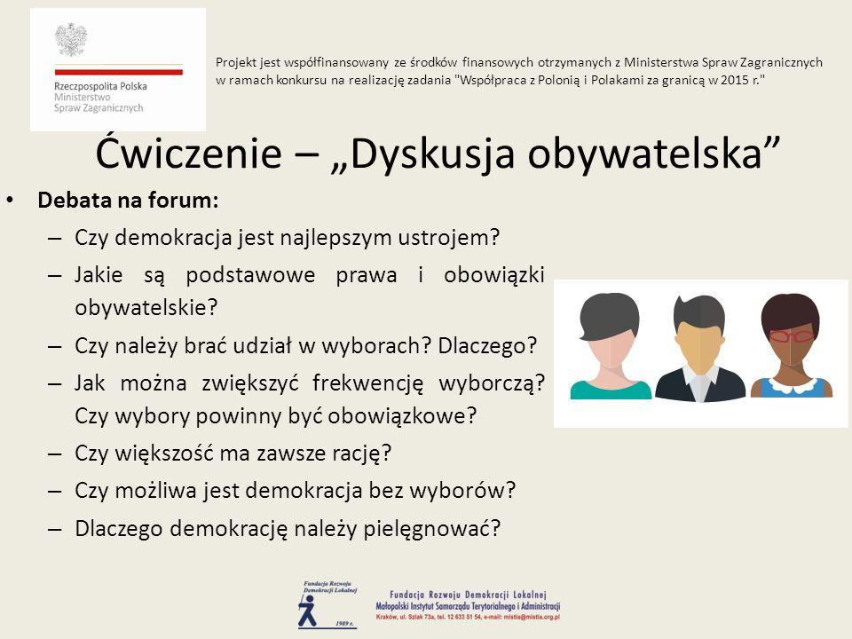 Debata na forum: – Czy demokracja jest najlepszym ustrojem? – Jakie są podstawowe prawa i obowiązki obywatelskie? – Czy należy brać udział w wyborach?
