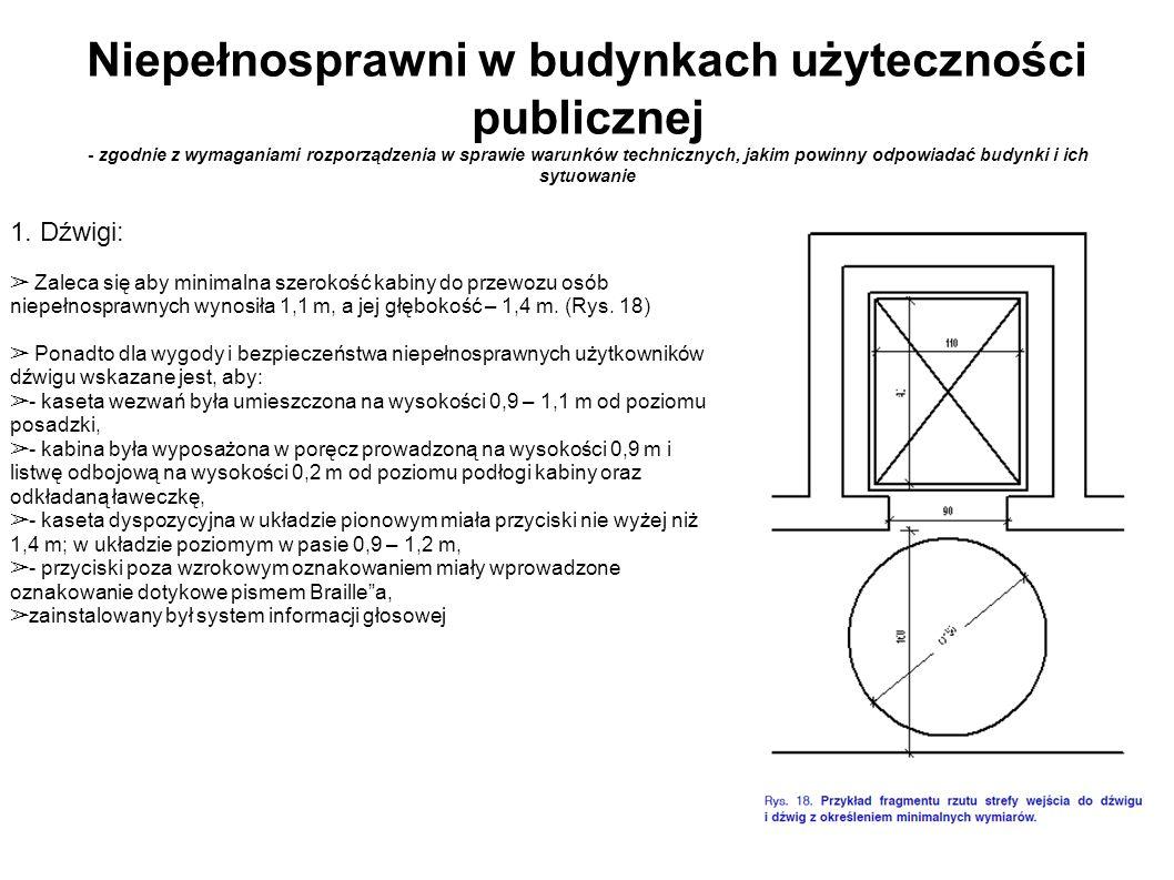 Niepełnosprawni w budynkach użyteczności publicznej - zgodnie z wymaganiami rozporządzenia w sprawie warunków technicznych, jakim powinny odpowiadać budynki i ich sytuowanie 5.