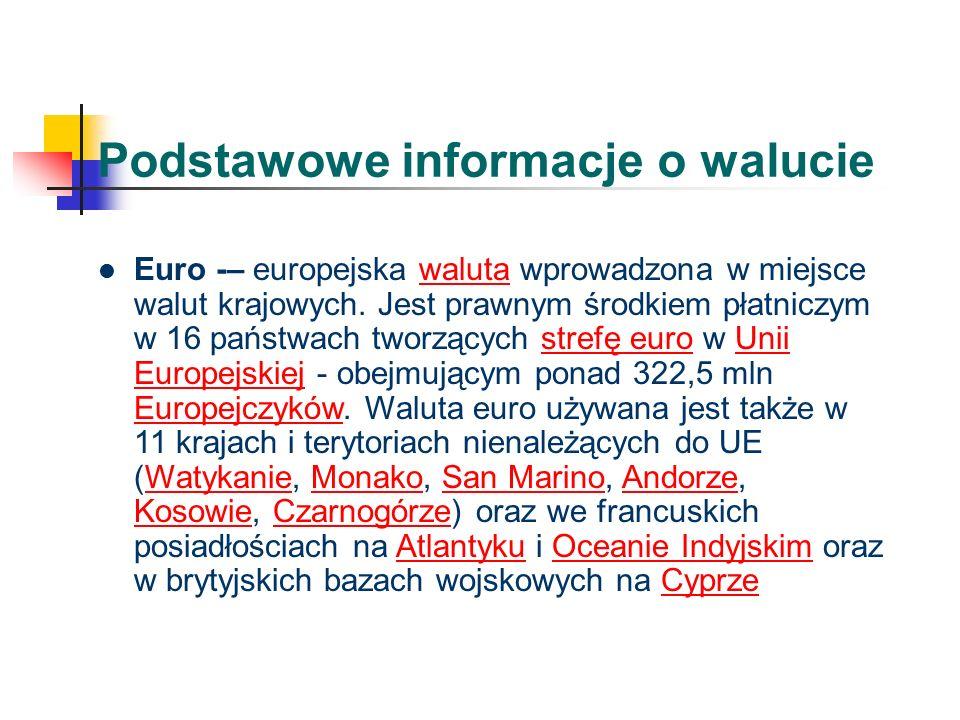 Podstawowe informacje o walucie Euro -– europejska waluta wprowadzona w miejsce walut krajowych.