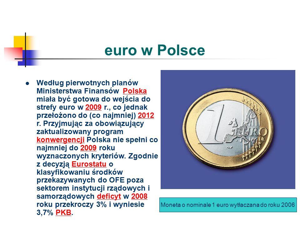 euro w Polsce Według pierwotnych planów Ministerstwa Finansów Polska miała być gotowa do wejścia do strefy euro w 2009 r., co jednak przełożono do (co najmniej) 2012 r.