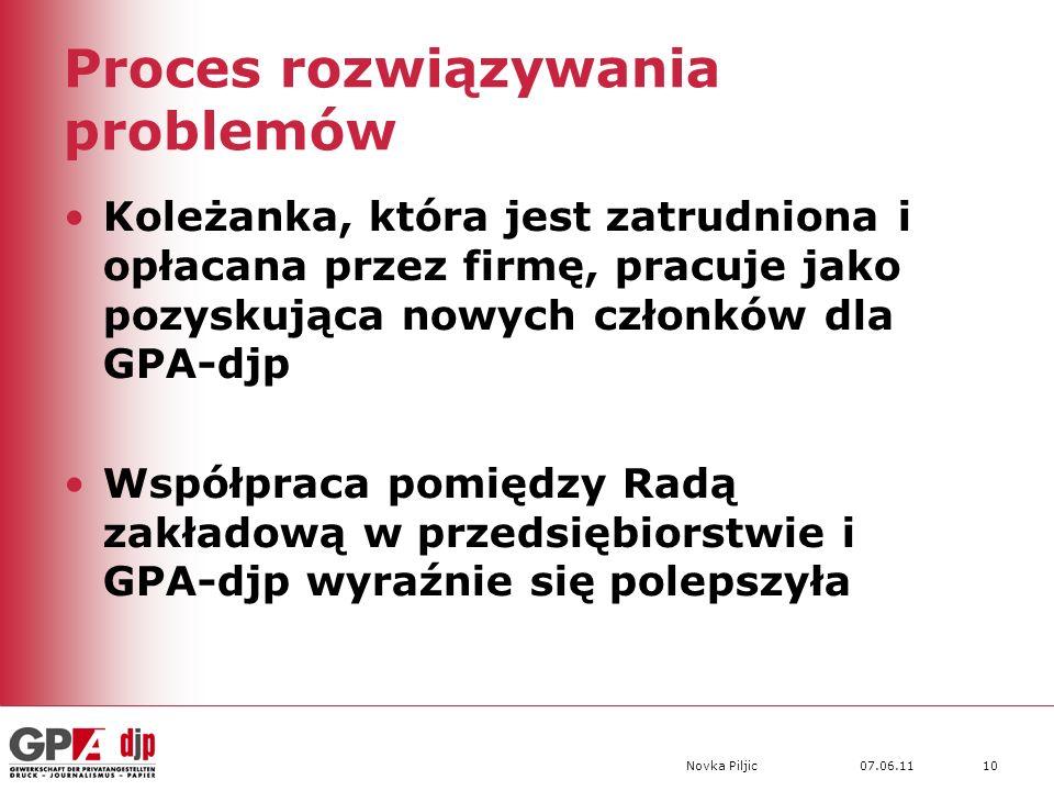 07.06.11Novka Piljic10 Proces rozwiązywania problemów Koleżanka, która jest zatrudniona i opłacana przez firmę, pracuje jako pozyskująca nowych członków dla GPA-djp Współpraca pomiędzy Radą zakładową w przedsiębiorstwie i GPA-djp wyraźnie się polepszyła
