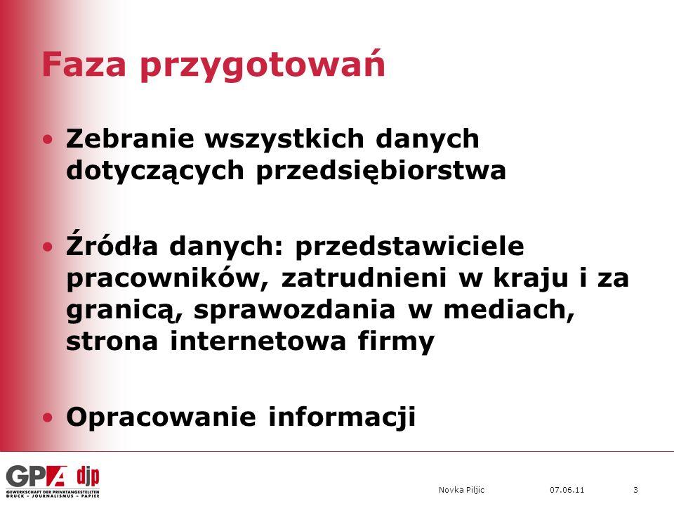 07.06.11Novka Piljic3 Faza przygotowań Zebranie wszystkich danych dotyczących przedsiębiorstwa Źródła danych: przedstawiciele pracowników, zatrudnieni w kraju i za granicą, sprawozdania w mediach, strona internetowa firmy Opracowanie informacji
