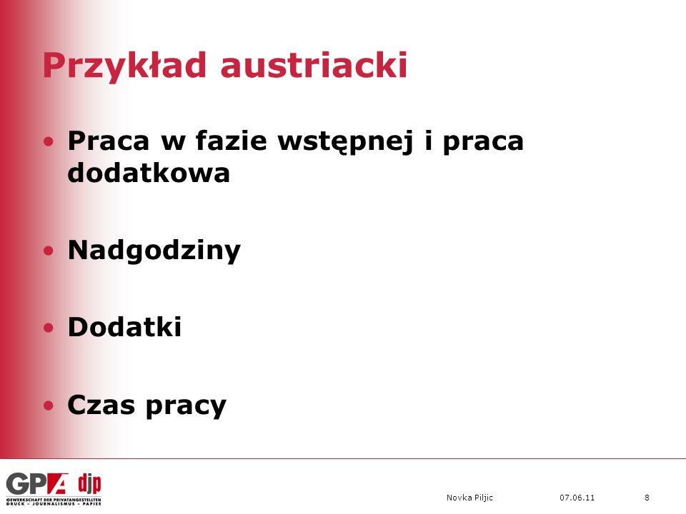 07.06.11Novka Piljic8 Przykład austriacki Praca w fazie wstępnej i praca dodatkowa Nadgodziny Dodatki Czas pracy