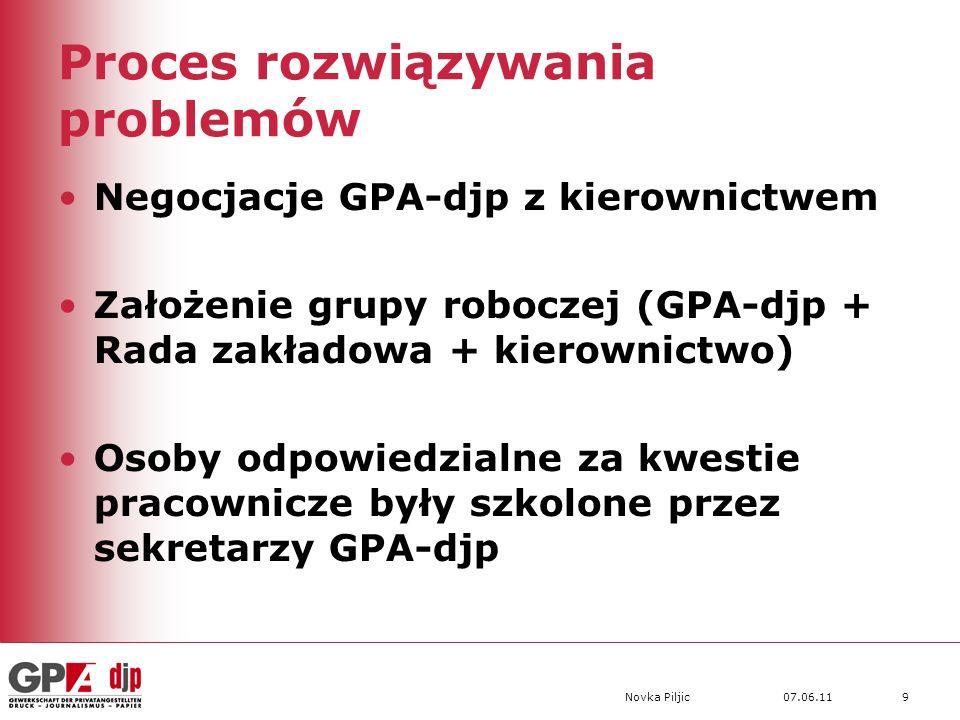 07.06.11Novka Piljic9 Proces rozwiązywania problemów Negocjacje GPA-djp z kierownictwem Założenie grupy roboczej (GPA-djp + Rada zakładowa + kierownictwo) Osoby odpowiedzialne za kwestie pracownicze były szkolone przez sekretarzy GPA-djp