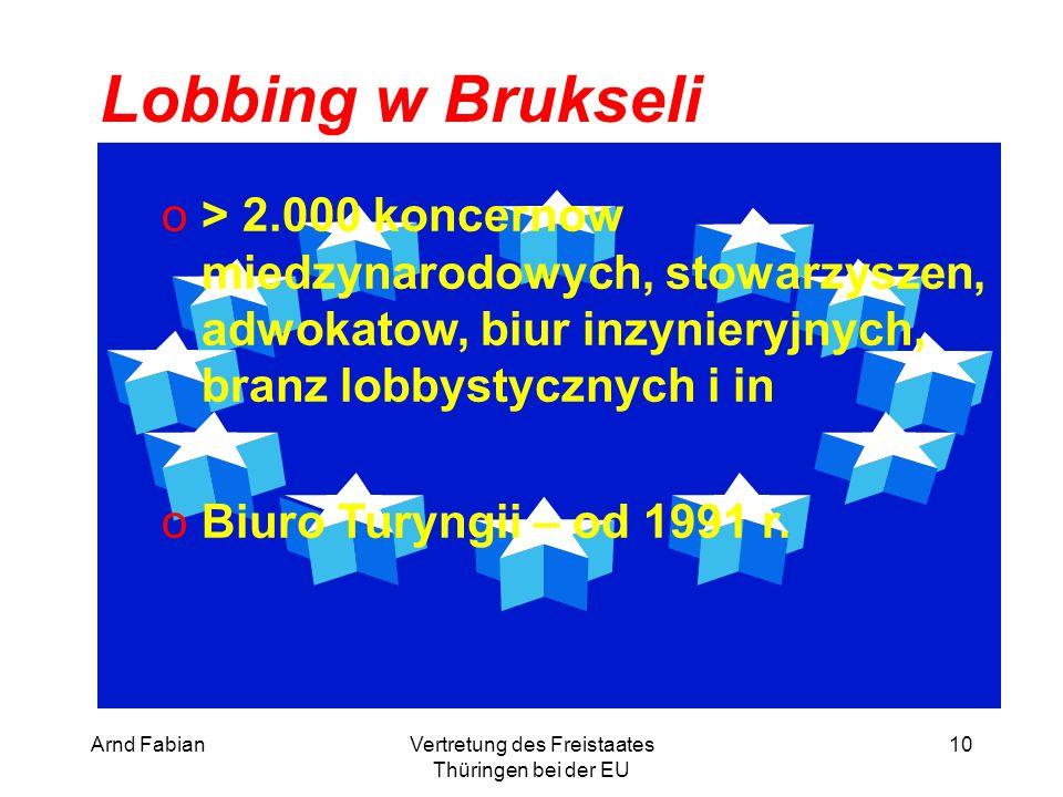 Arnd FabianVertretung des Freistaates Thüringen bei der EU 10 Lobbing w Brukseli o> 2.000 koncernow miedzynarodowych, stowarzyszen, adwokatow, biur inzynieryjnych, branz lobbystycznych i in oBiuro Turyngii – od 1991 r.