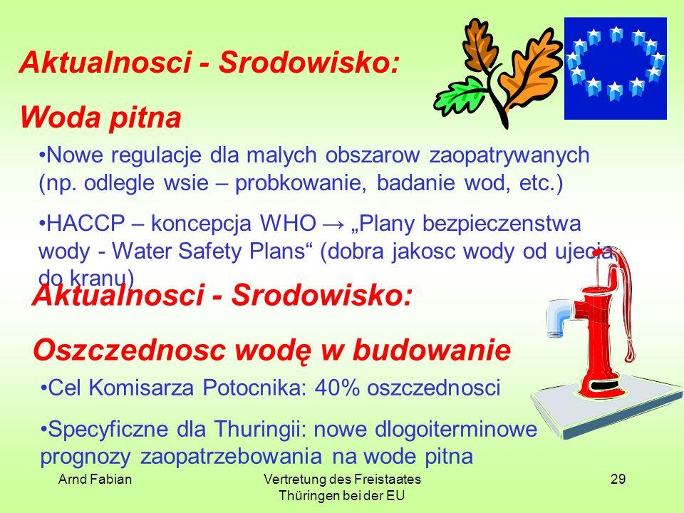 Arnd FabianVertretung des Freistaates Thüringen bei der EU 29 Aktualnosci - Srodowisko: Woda pitna Nowe regulacje dla malych obszarow zaopatrywanych (np.
