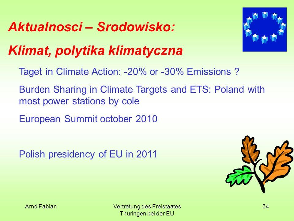 Arnd FabianVertretung des Freistaates Thüringen bei der EU 34 Aktualnosci – Srodowisko: Klimat, polytika klimatyczna Taget in Climate Action: -20% or -30% Emissions .