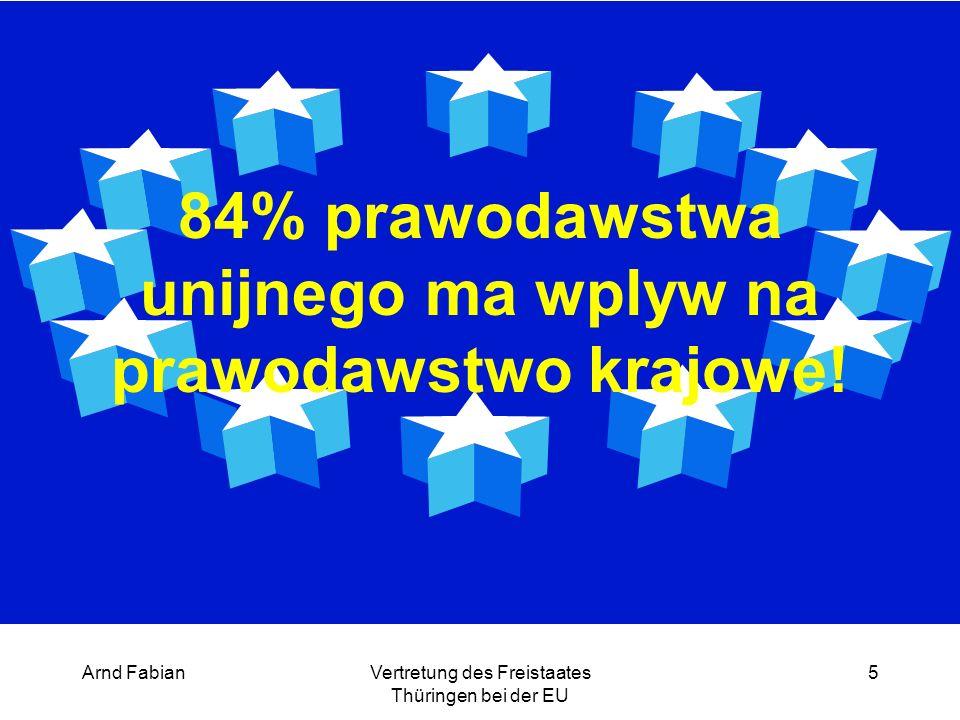 Arnd FabianVertretung des Freistaates Thüringen bei der EU 5 84% prawodawstwa unijnego ma wplyw na prawodawstwo krajowe!