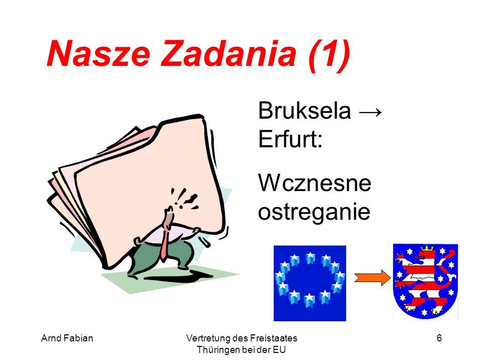 Arnd FabianVertretung des Freistaates Thüringen bei der EU 6 Nasze Zadania (1) Bruksela → Erfurt: Wcznesne ostreganie