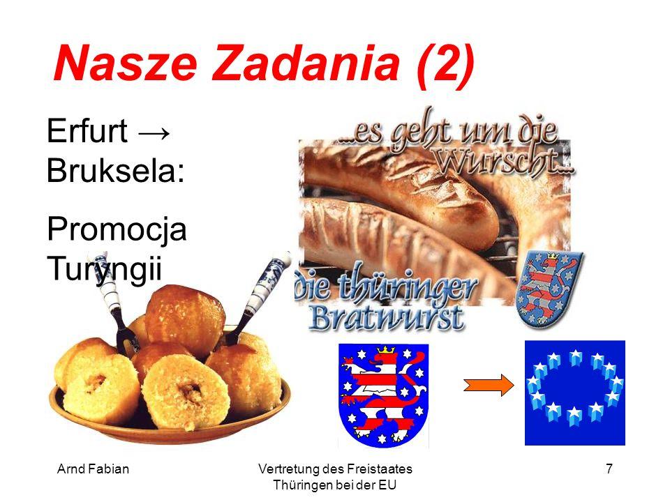 Arnd FabianVertretung des Freistaates Thüringen bei der EU 7 Nasze Zadania (2) Erfurt → Bruksela: Promocja Turyngii