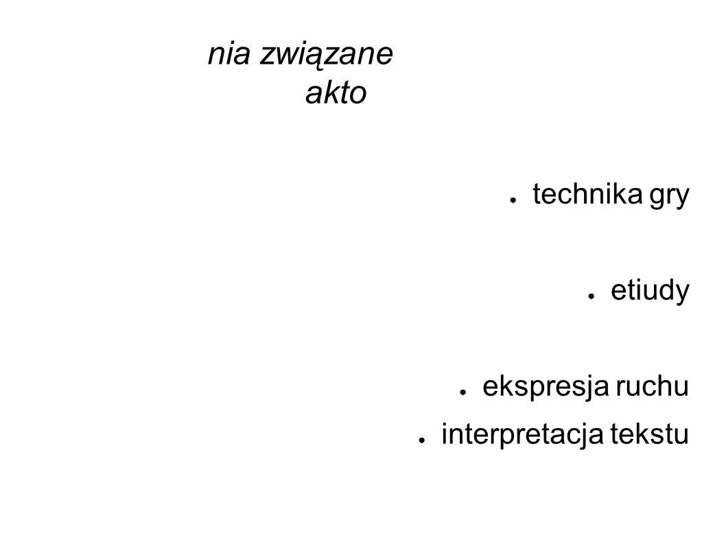 ● Zagadnienia związane z podstawami pracy aktorskiej: ● ruch sceniczny ● technika gry ● dykcja ● etiudy ● taniec ● ekspresja ruchu ● interpretacja tekstu