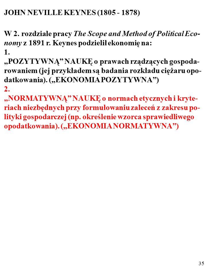 """34 JOHN NEVILLE KEYNES (1805 - 1878) W 2. rozdziale pracy The Scope and Method of Political Eco- nomy z 1891 r. Keynes podzielił ekonomię na: 1. """"POZY"""