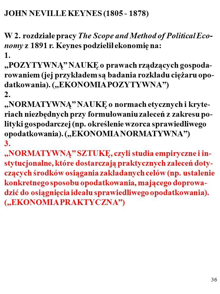 """35 JOHN NEVILLE KEYNES (1805 - 1878) W 2. rozdziale pracy The Scope and Method of Political Eco- nomy z 1891 r. Keynes podzielił ekonomię na: 1. """"POZY"""