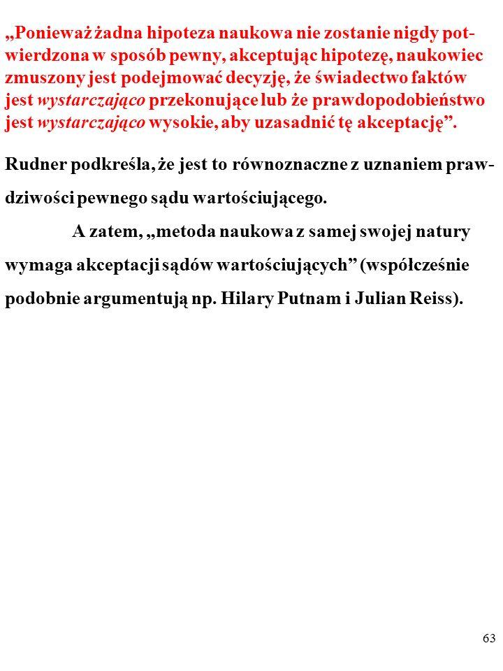 62 W literaturze przedmiotu klasycznym przykładem takiej ar- gumentacji są opinie RICHARDA RUDNERA (1921-1979). Rudner twierdzi np., że kiedy naukowie