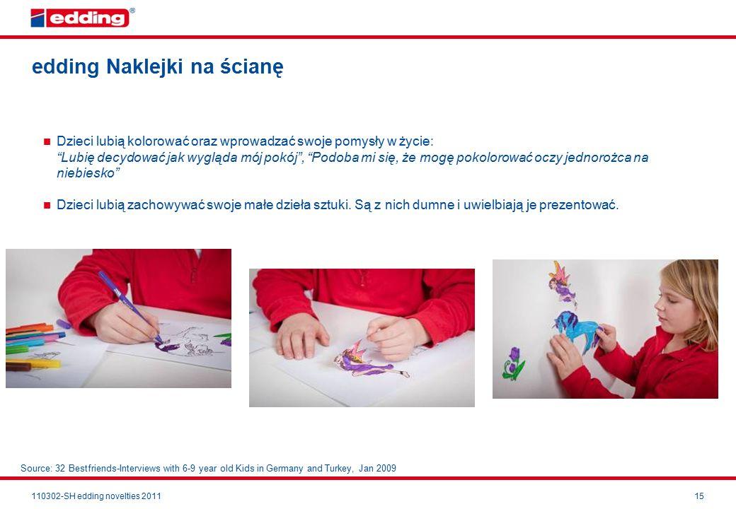 110302-SH edding novelties 201115 edding Naklejki na ścianę Dzieci lubią kolorować oraz wprowadzać swoje pomysły w życie: Lubię decydować jak wygląda mój pokój , Podoba mi się, że mogę pokolorować oczy jednorożca na niebiesko Dzieci lubią zachowywać swoje małe dzieła sztuki.