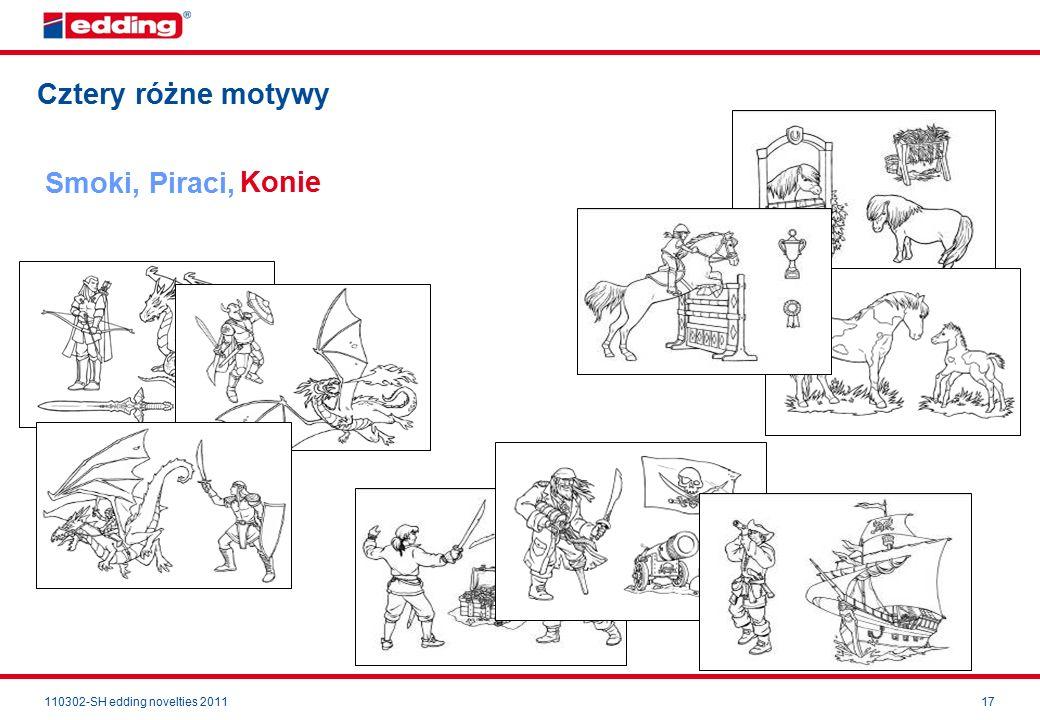110302-SH edding novelties 201117 Cztery różne motywy Smoki, Piraci, Konie