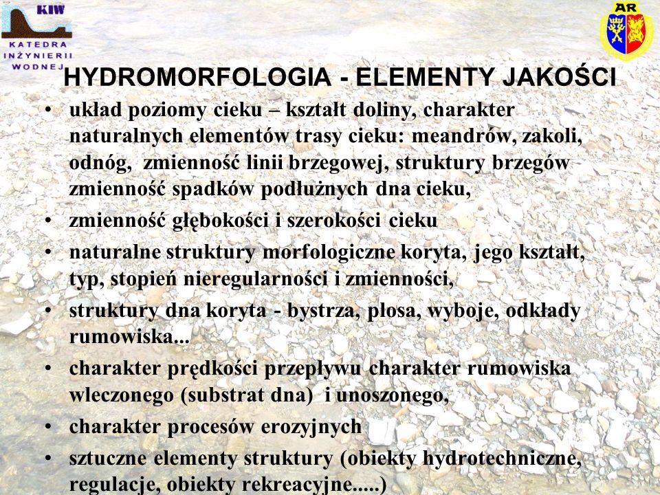HYDROMORFOLOGIA - ELEMENTY JAKOŚCI układ poziomy cieku – kształt doliny, charakter naturalnych elementów trasy cieku: meandrów, zakoli, odnóg, zmienno