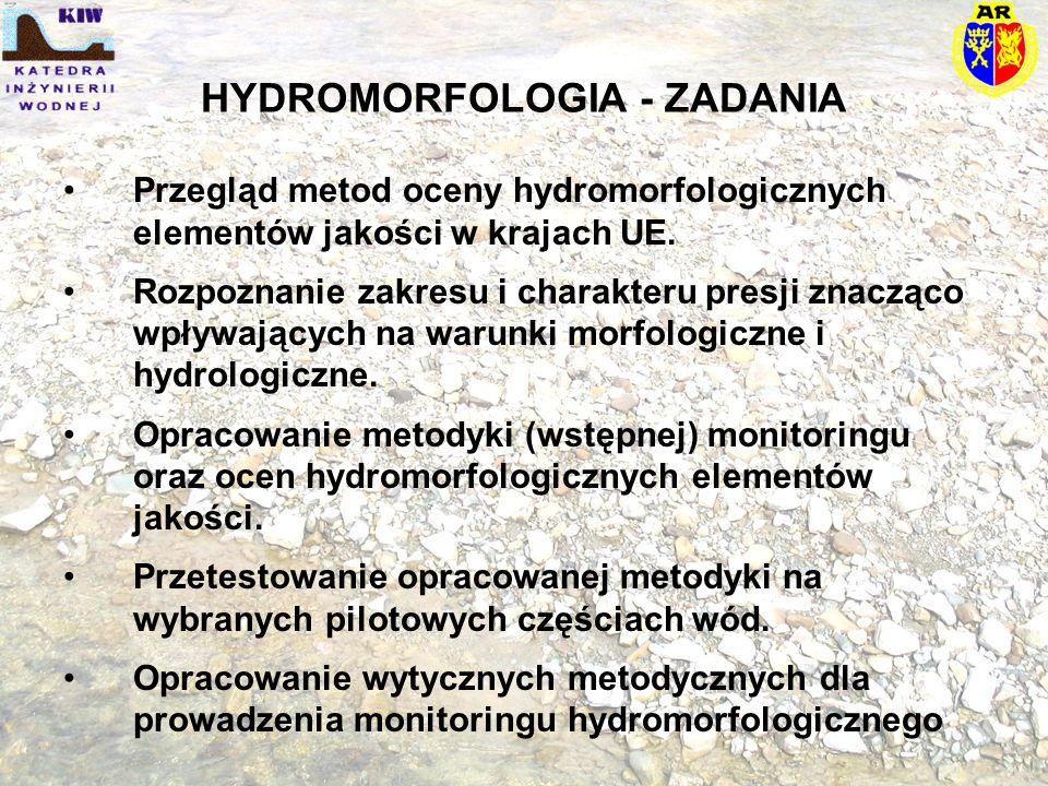HYDROMORFOLOGIA - ZADANIA Przegląd metod oceny hydromorfologicznych elementów jakości w krajach UE. Rozpoznanie zakresu i charakteru presji znacząco w