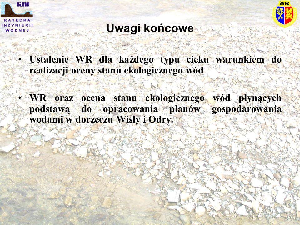 Uwagi końcowe Ustalenie WR dla każdego typu cieku warunkiem do realizacji oceny stanu ekologicznego wód WR oraz ocena stanu ekologicznego wód płynącyc