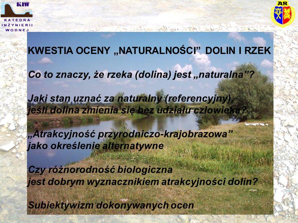 """KWESTIA OCENY """"NATURALNOŚCI"""" DOLIN I RZEK Co to znaczy, że rzeka (dolina) jest """"naturalna""""? Jaki stan uznać za naturalny (referencyjny), jeśli dolina"""
