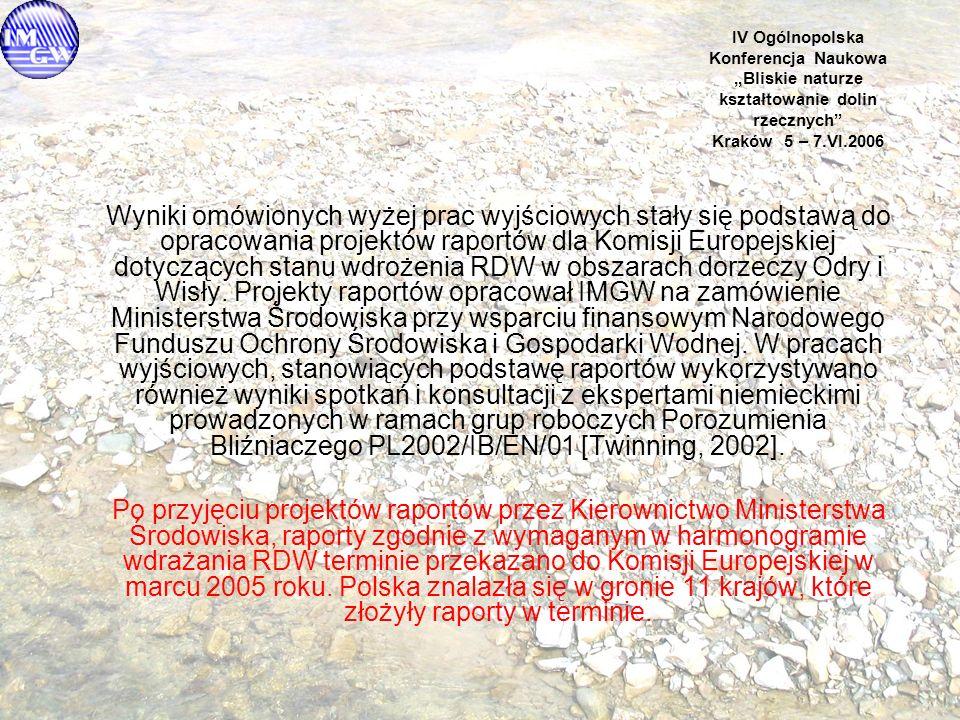 """IV Ogólnopolska Konferencja Naukowa """"Bliskie naturze kształtowanie dolin rzecznych Kraków 5 – 7.VI.2006 Wyniki omówionych wyżej prac wyjściowych stały się podstawą do opracowania projektów raportów dla Komisji Europejskiej dotyczących stanu wdrożenia RDW w obszarach dorzeczy Odry i Wisły."""
