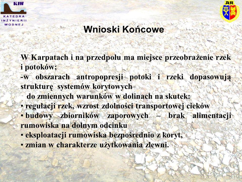 Wnioski Końcowe W Karpatach i na przedpolu ma miejsce przeobrażenie rzek i potoków; -w obszarach antropopresji potoki i rzeki dopasowują strukturę sys