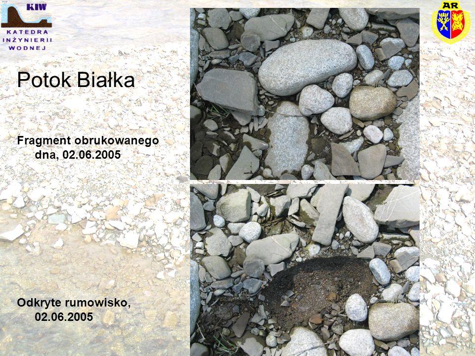 Potok Białka Fragment obrukowanego dna, 02.06.2005 Odkryte rumowisko, 02.06.2005