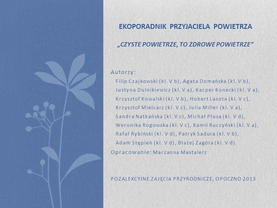 Autorzy: Filip Czajkowski (kl. V b), Agata Domańska (kl. V b), Justyna Dulnikiewicz (kl. V a), Kacper Konecki (kl. V a), Krzysztof Kowalski (kl. V b),