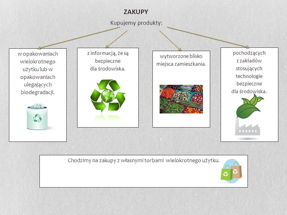 ZAKUPY Kupujemy produkty: w opakowaniach wielokrotnego użytku lub w opakowaniach ulegających biodegradacji. z informacją, że są bezpieczne dla środowi