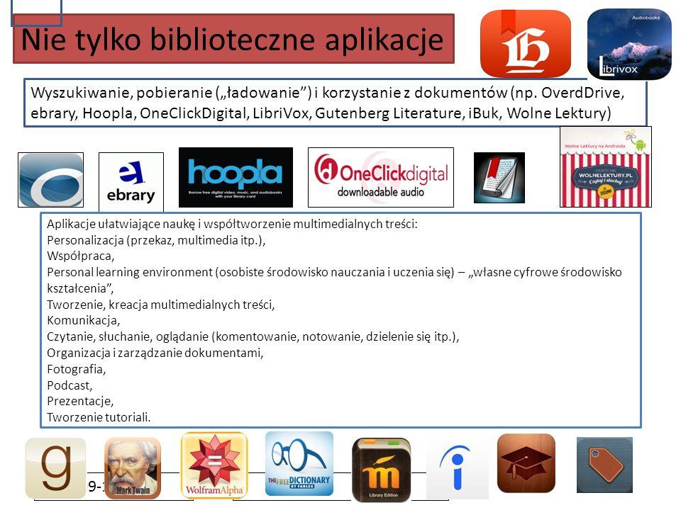 """2016-09-19 Nie tylko biblioteczne aplikacje Wyszukiwanie, pobieranie (""""ładowanie"""") i korzystanie z dokumentów (np. OverdDrive, ebrary, Hoopla, OneClic"""