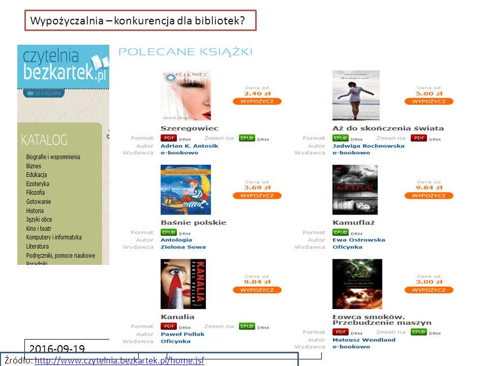 2016-09-19 Wypożyczalnia – konkurencja dla bibliotek? Źródło: http://www.czytelnia.bezkartek.pl/home.jsfhttp://www.czytelnia.bezkartek.pl/home.jsf