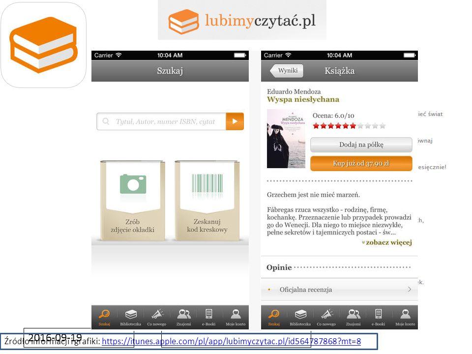 Źródło informacji i grafiki: https://itunes.apple.com/pl/app/lubimyczytac.pl/id564787868?mt=8https://itunes.apple.com/pl/app/lubimyczytac.pl/id5647878