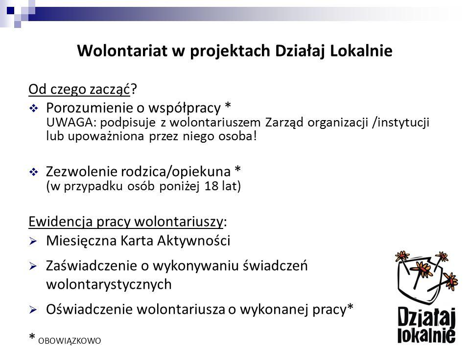 Wolontariat w projektach Działaj Lokalnie Od czego zacząć?  Porozumienie o współpracy * UWAGA: podpisuje z wolontariuszem Zarząd organizacji /instytu