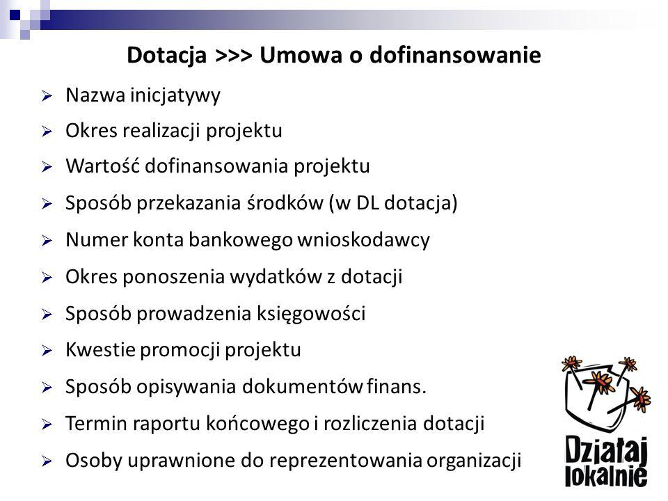 Dotacja >>> Umowa o dofinansowanie  Nazwa inicjatywy  Okres realizacji projektu  Wartość dofinansowania projektu  Sposób przekazania środków (w DL