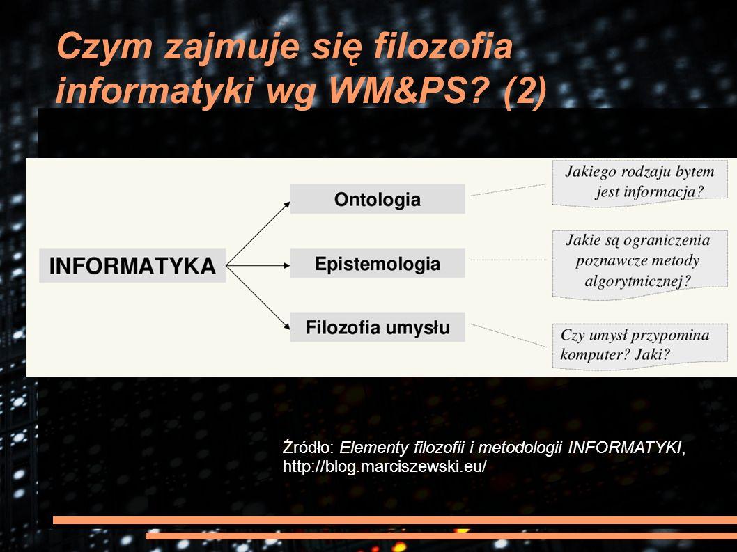 Czym zajmuje się filozofia informatyki wg WM&PS? (2) Źródło: Elementy filozofii i metodologii INFORMATYKI, http://blog.marciszewski.eu/